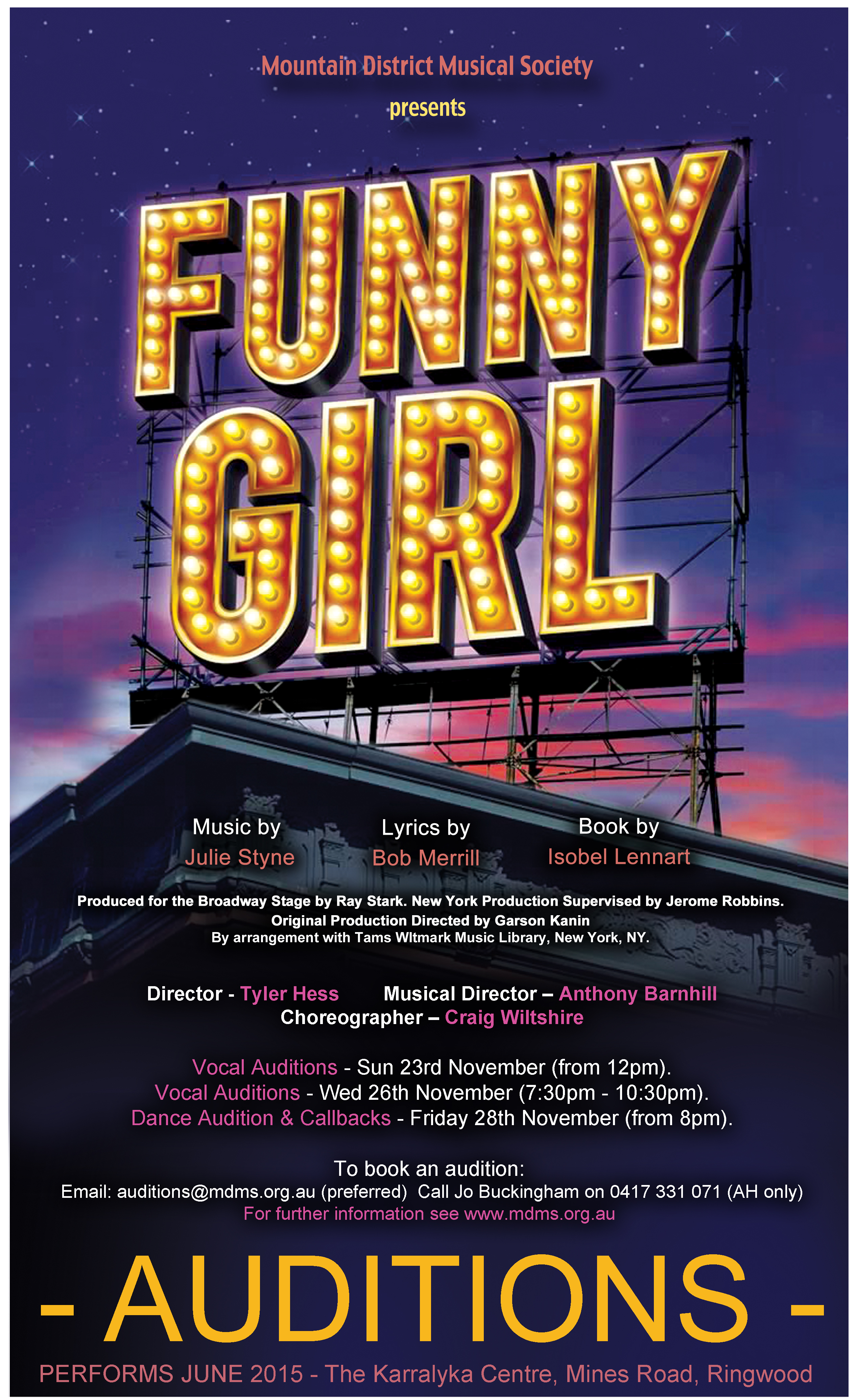 Funny Girl Audition Poster